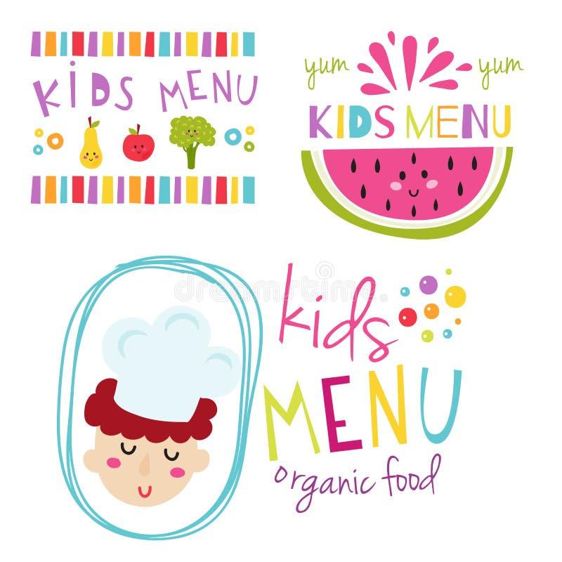 Insigne sain de nourriture fraîche de menu d'enfants de bannière de vecteur de restaurant réglé tiré par la main organique de béb illustration stock