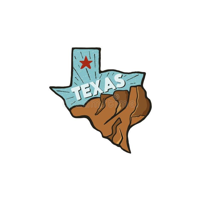 Insigne tiré par la main d'état d'insigne du Texas de vintage, Etats-Unis Icône plate de style, logo Comporter des montagnes, éto illustration libre de droits