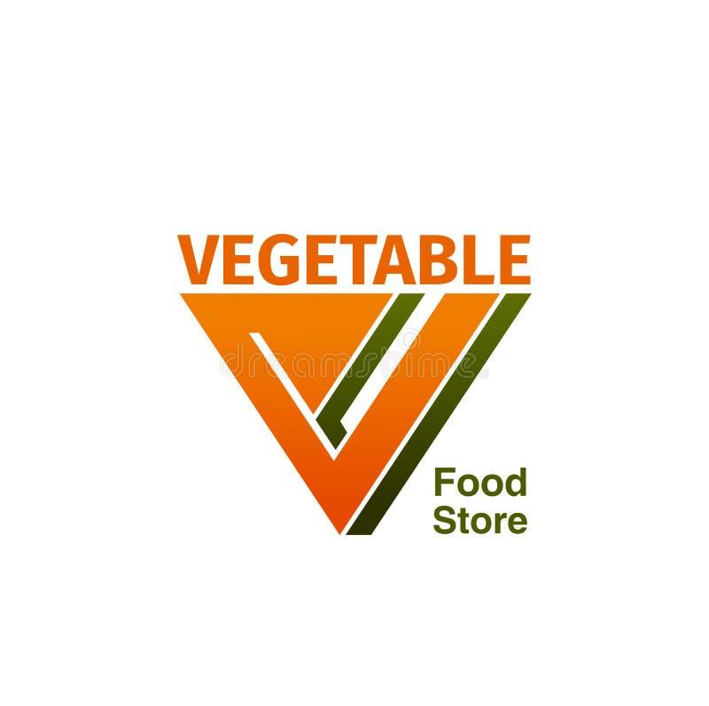 Insigne végétal de magasin de nourriture illustration stock