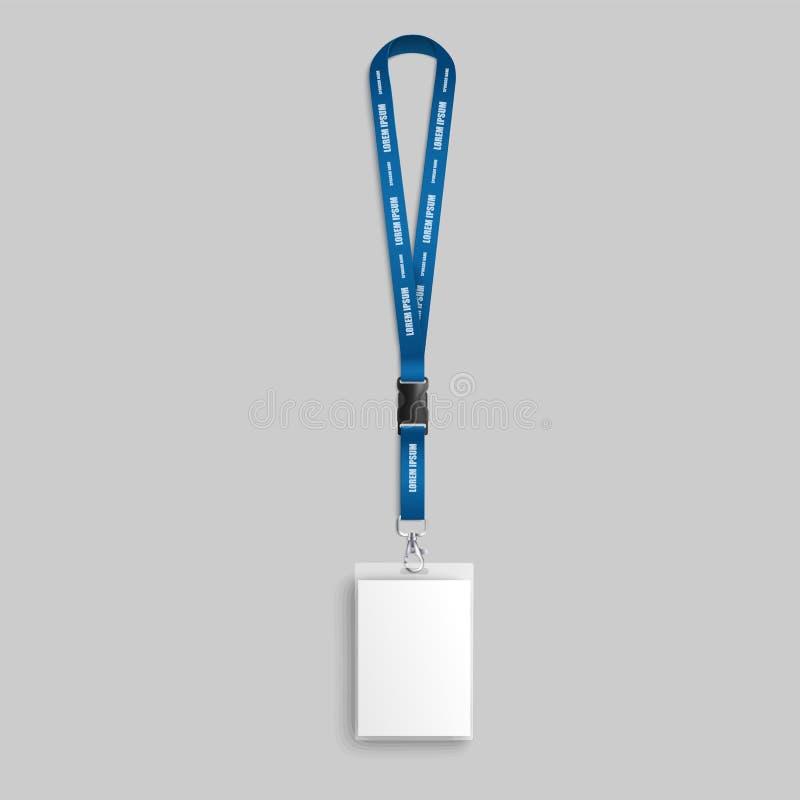 Insigne vide réaliste sur la lanière bleue avec la carte d'identification et de passage pour le support de nom illustration stock