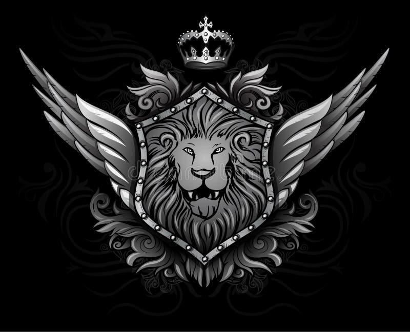 Insignes à ailes 2 de lion illustration stock