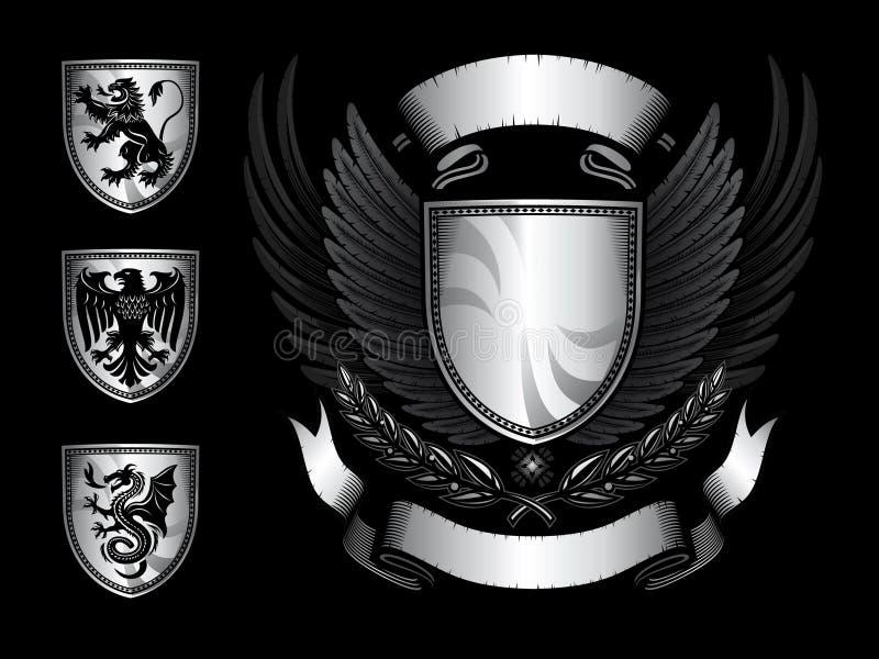 Insignes à ailes d'écran protecteur illustration de vecteur
