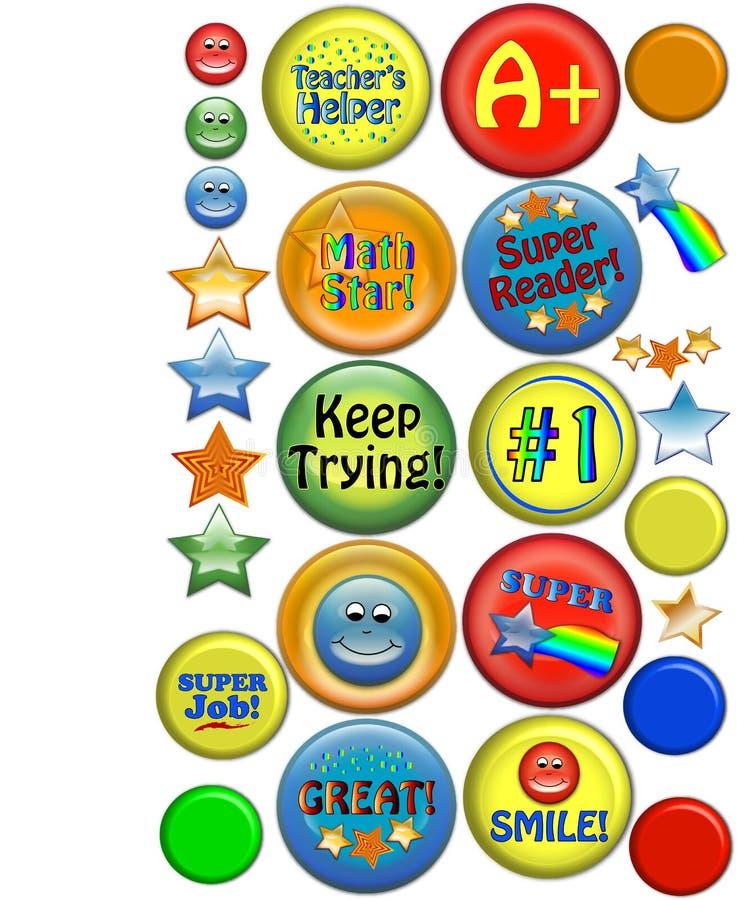 Insignes école-relatifs de motivation illustration stock
