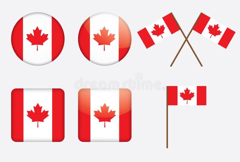 Insignes avec l'indicateur canadien illustration de vecteur