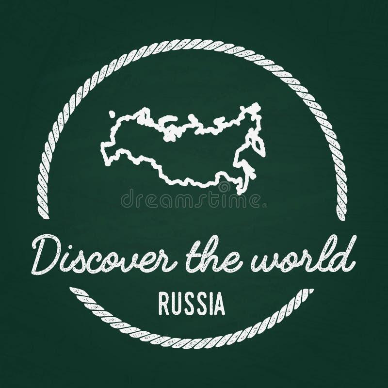 Insignes blancs de hippie de texture de craie avec le Russe illustration de vecteur