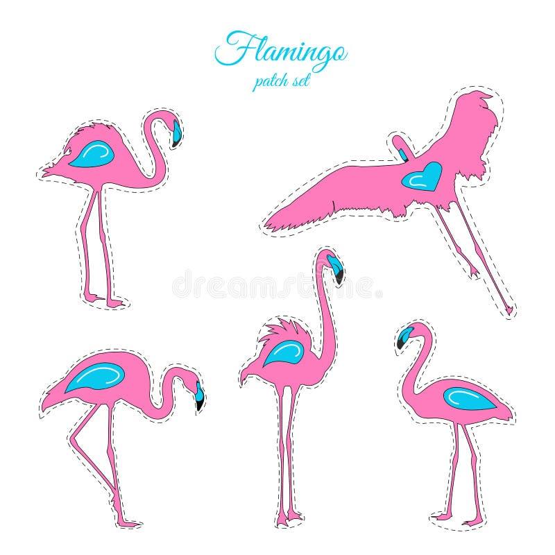 Insignes bleus roses de correction de mode d'oiseaux de flamant réglés illustration stock