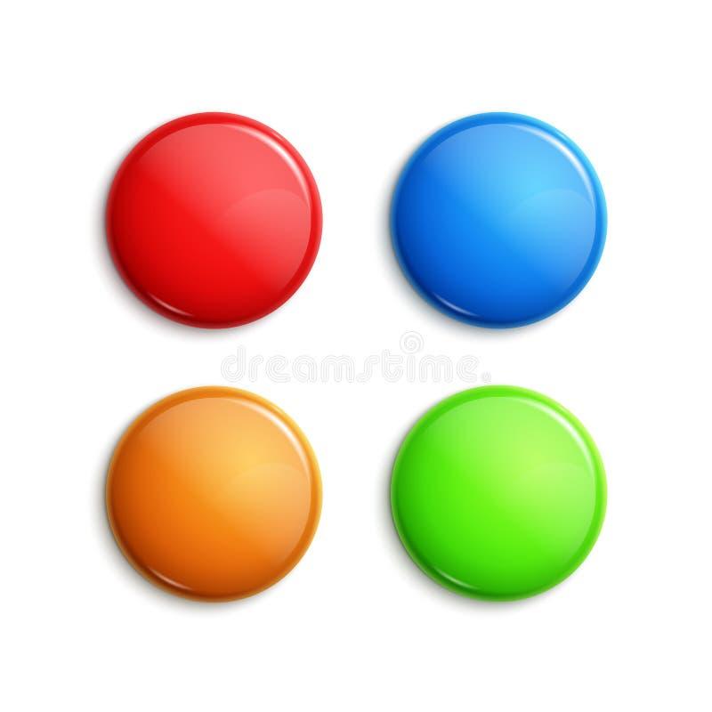 Insignes brillants colorés vides Boutons de Web Conception de forme de vecteur bleue, orange rouge et verte de NAD illustration stock