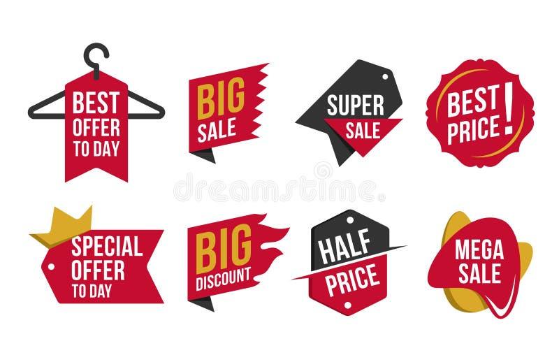 Insignes chauds de remise de vente de collection illustration libre de droits