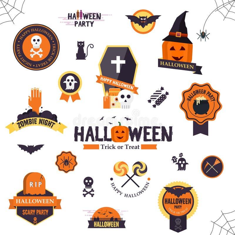 Insignes conçus plats de Hallowen illustration de vecteur