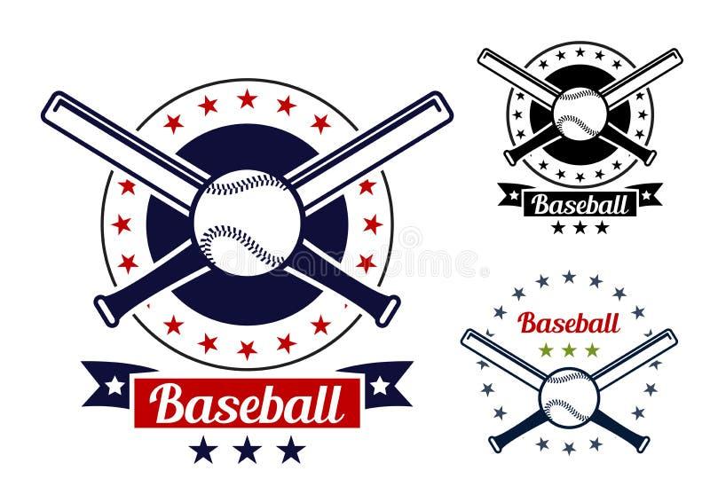 Insignes d'équipe de sport de base-ball illustration de vecteur