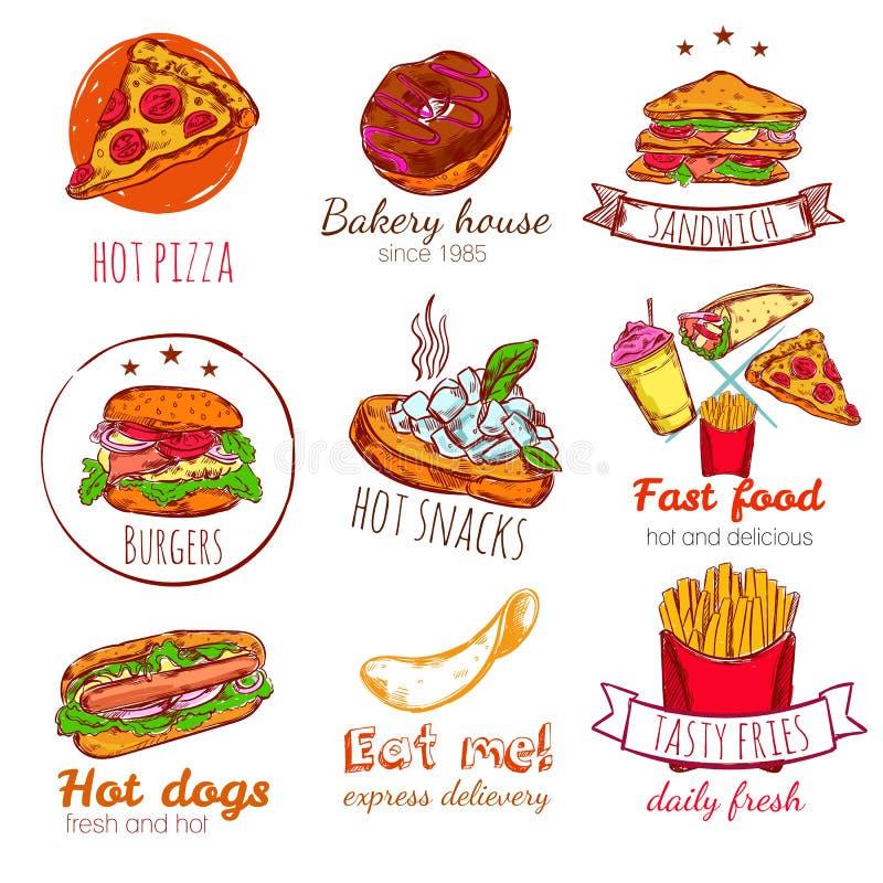 Insignes d'aliments de préparation rapide réglés illustration de vecteur