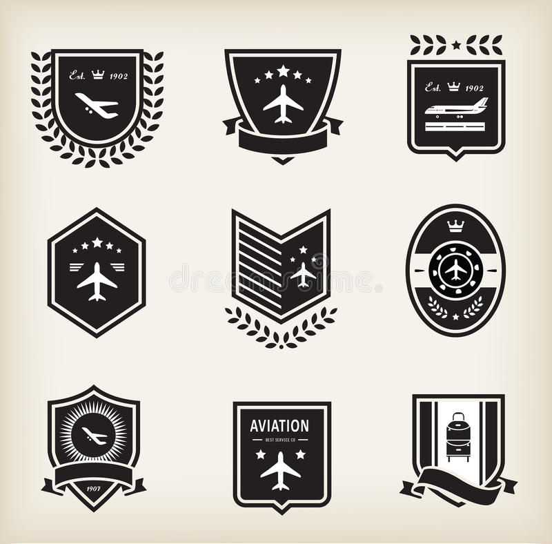 Insignes d'aviation plats illustration de vecteur