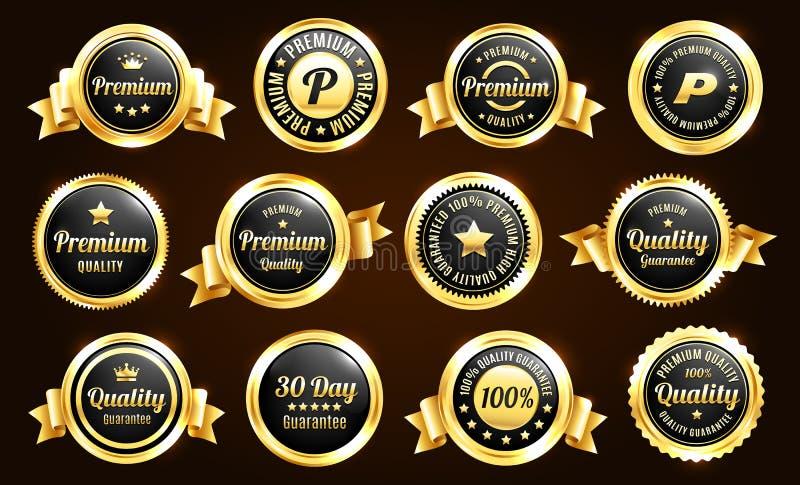Insignes d'or de garantie de qualité illustration de vecteur