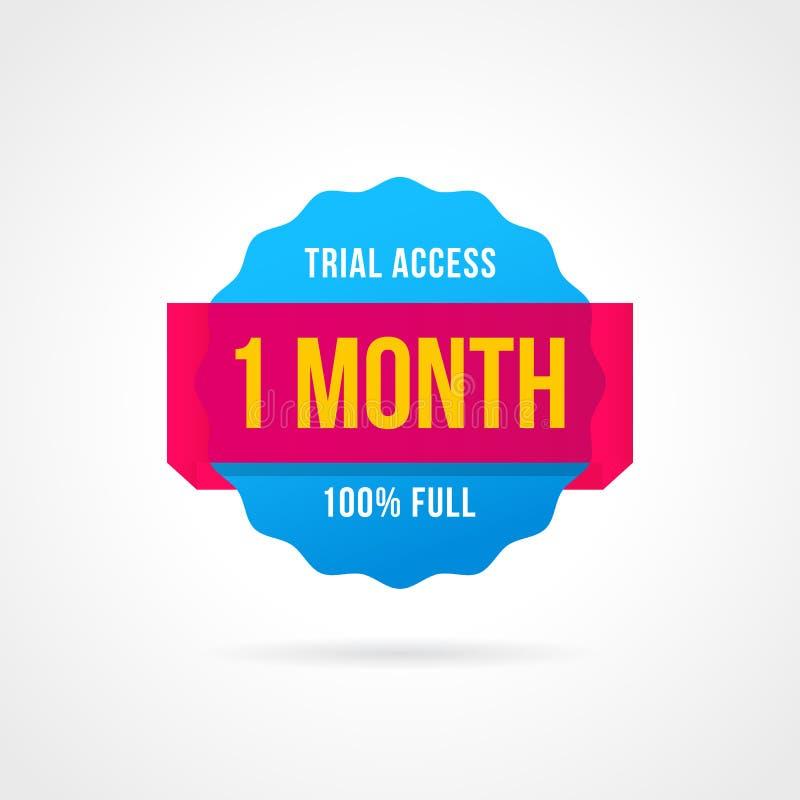 Insignes d'essai gratuit accès de 1 mois autocollants de bannière illustration de vecteur