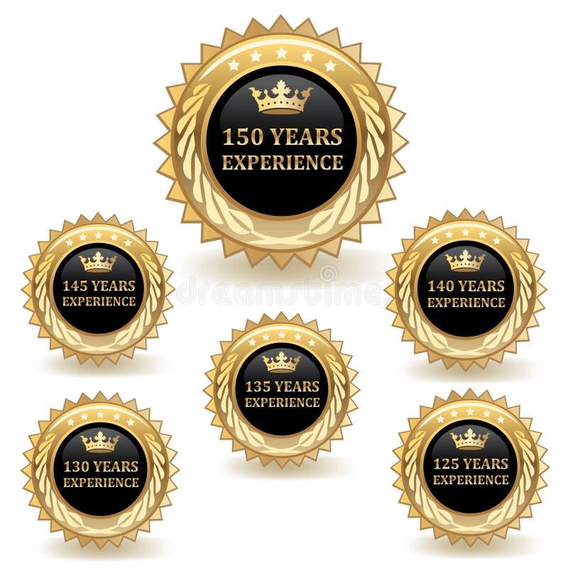 Insignes d'expérience d'or illustration stock