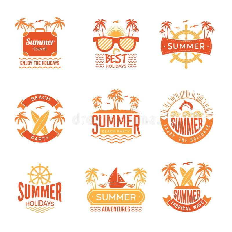 Insignes d'?t? Le palmier de labels et de logos de voyage boit des symboles tropicaux de vecteur de vacances du soleil illustration de vecteur