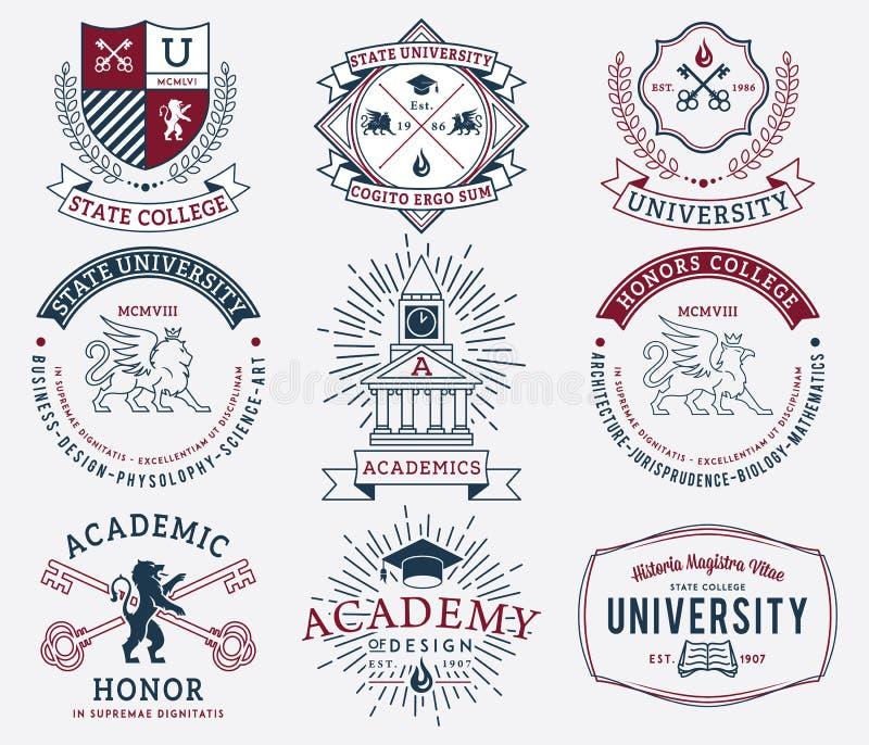 Insignes 2 d'université et d'université colorés photos libres de droits