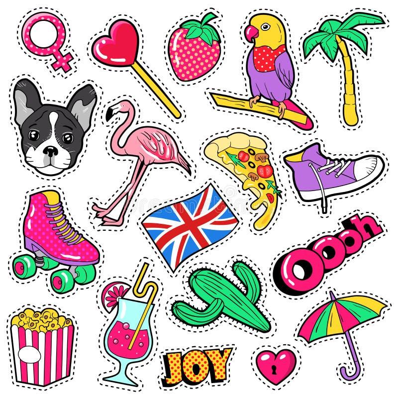 Insignes de filles de mode, corrections, autocollants - oiseau de flamant, perroquet de pizza et coeur dans le style comique illustration de vecteur