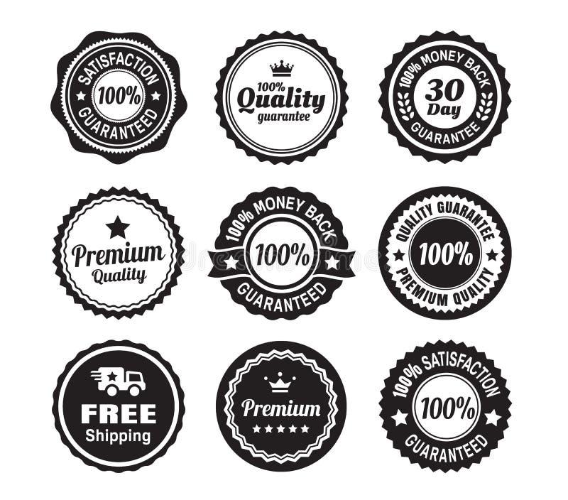 Insignes de garantie de qualité de vintage illustration de vecteur