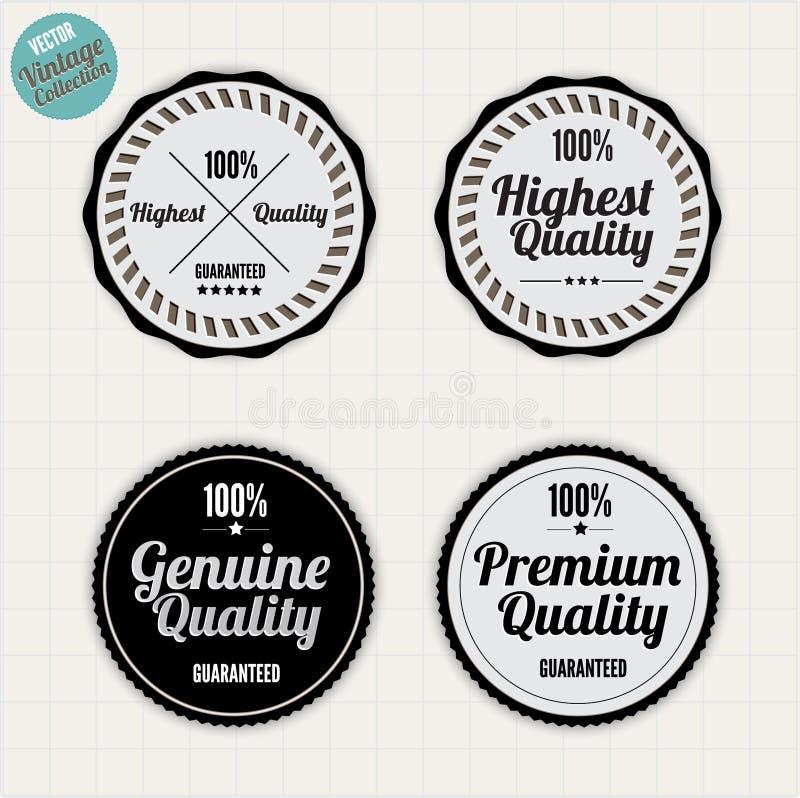 Insignes de garantie de qualité et de satisfaction illustration de vecteur