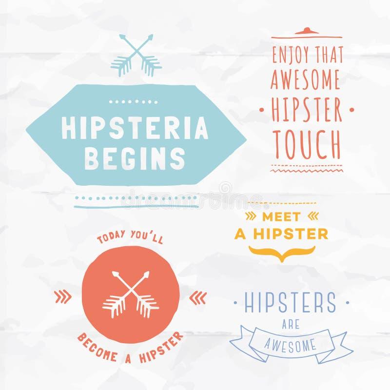Insignes de hippie de vecteur Insignes vides illustrés par main unique illustration de vecteur