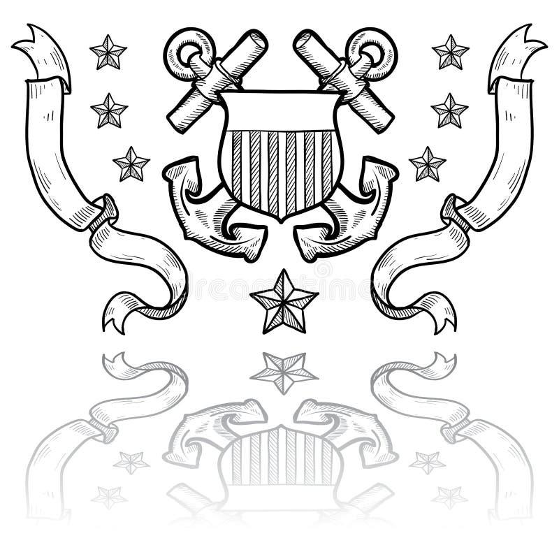 Insignes de la garde côtière des USA avec la guirlande illustration stock