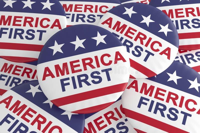 Insignes de la politique des Etats-Unis : La pile de l'Amérique se boutonne d'abord avec le drapeau des USA, l'illustration 3d illustration libre de droits