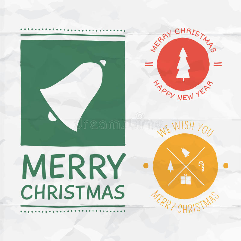 Insignes de Noël de vecteur illustration stock