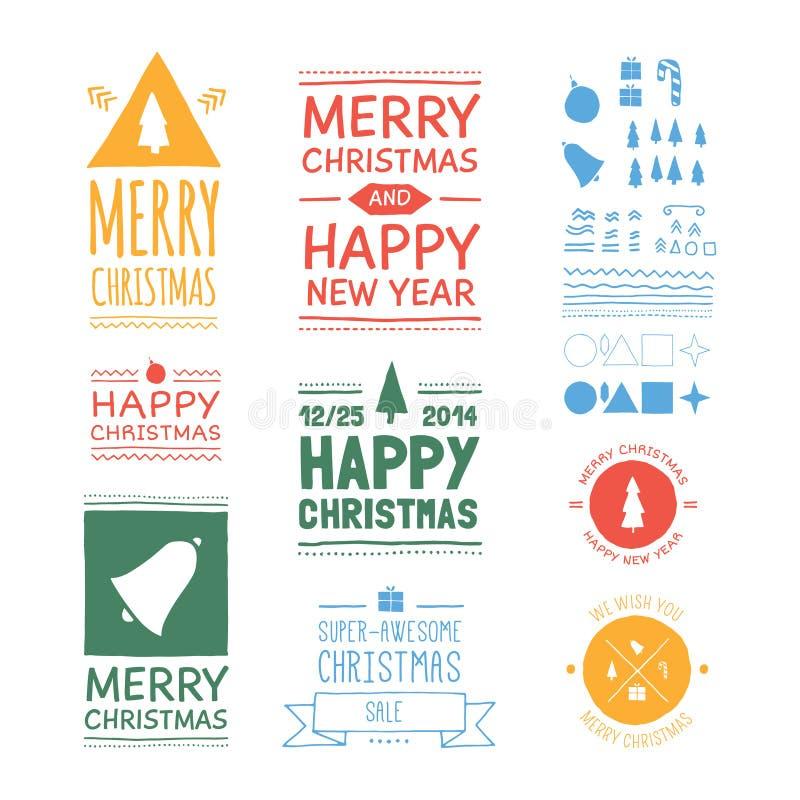 Insignes de Noël de vecteur illustration libre de droits