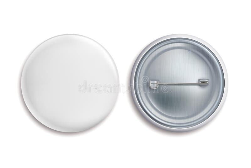 Insignes de Pin Le bouton vide rond blanc, annoncent le signe de cercle en métal 3d Maquette badging de vecteur d'aimant de souve illustration de vecteur