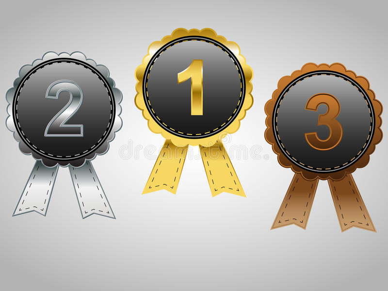 Insignes de récompense d'or, d'argent et de bronze illustration libre de droits