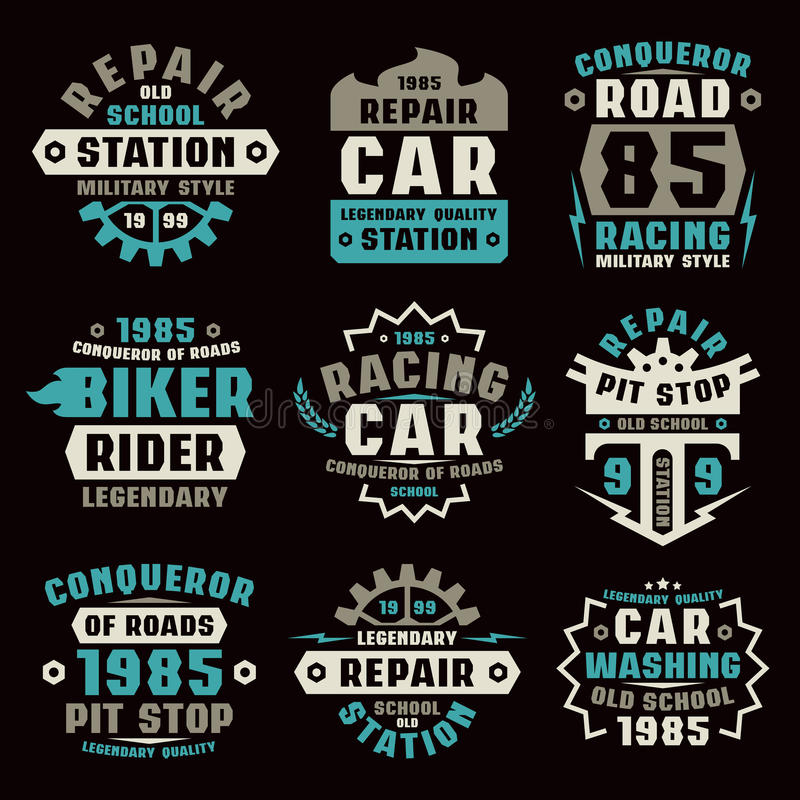 Insignes de réparation de voiture illustration stock