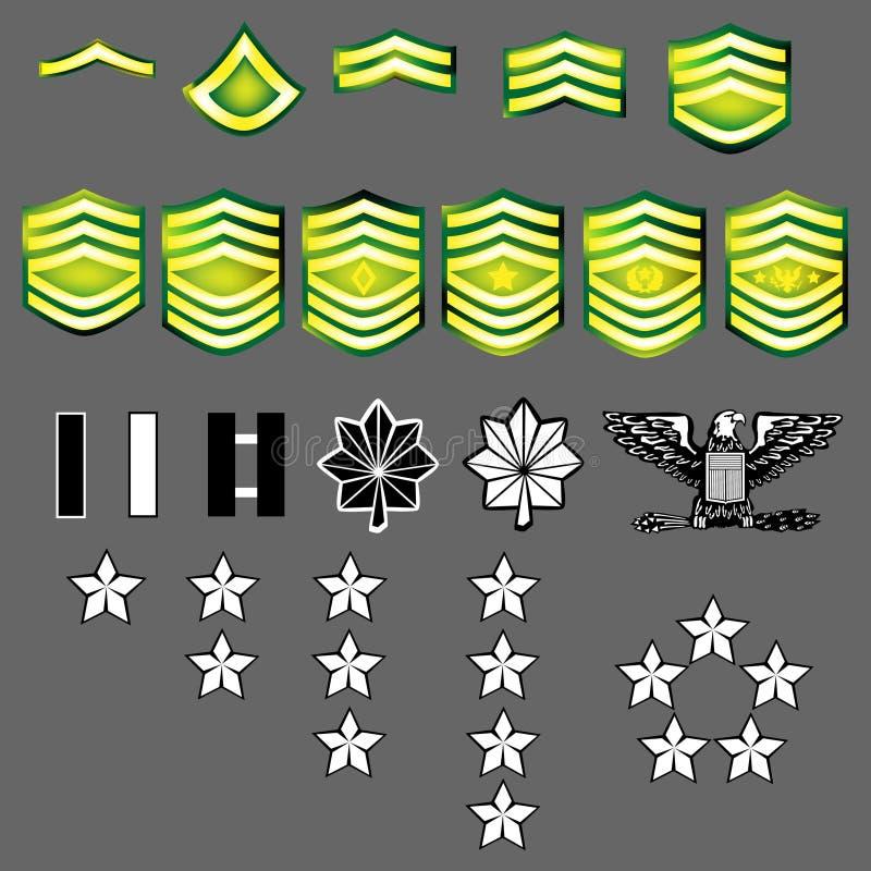 Insignes de rang de l'armée américaine illustration libre de droits