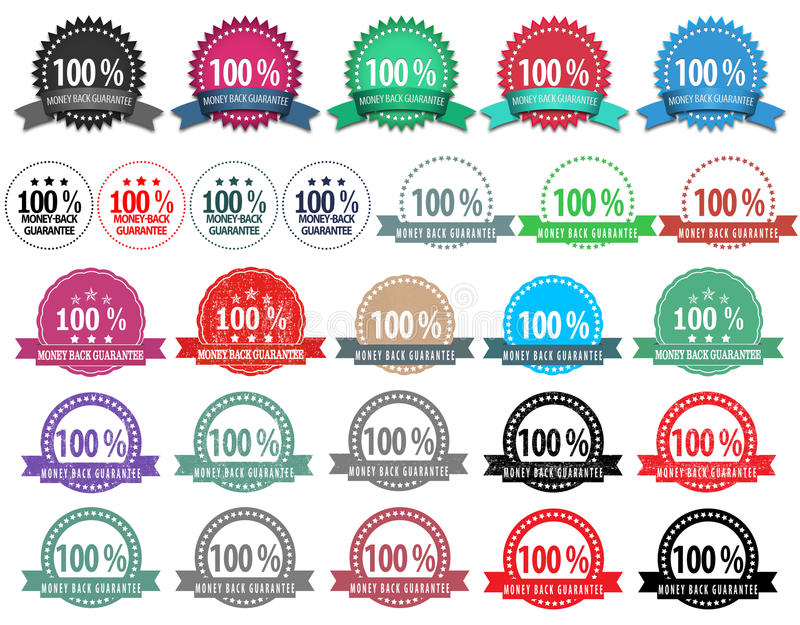 27 insignes de retour de garantie de couleur différente illustration stock