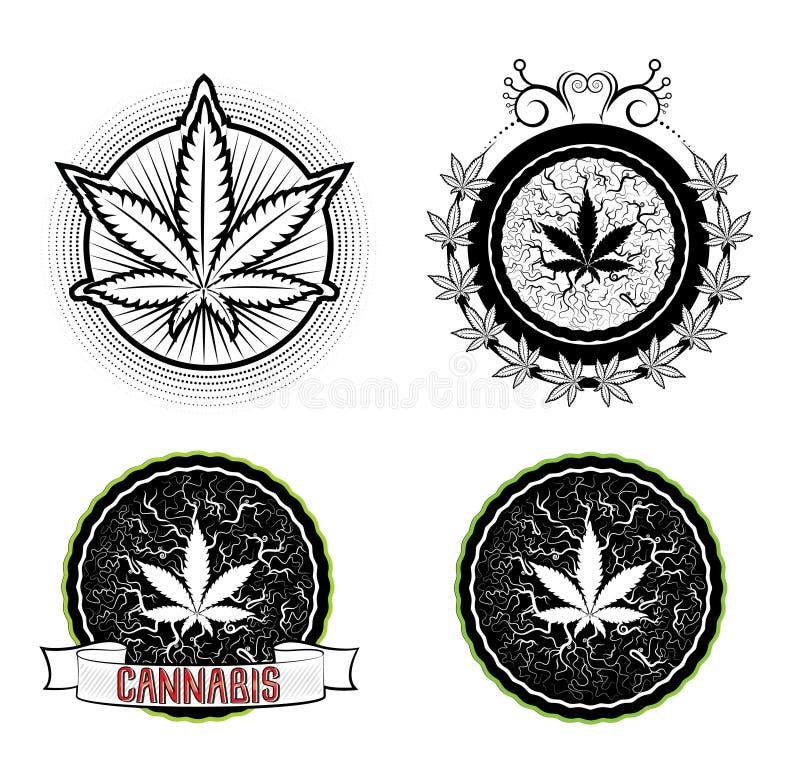 Insignes de symbole de marijuana et de mauvaise herbe illustration libre de droits