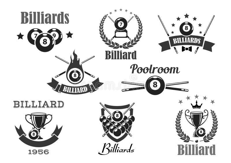 Insignes de tournoi de sport de salle de billard de billards de vecteur illustration libre de droits