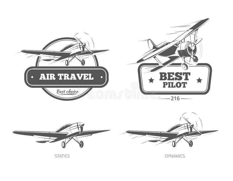 Insignes de vecteur d'aviation, logos, emblèmes, labels illustration stock