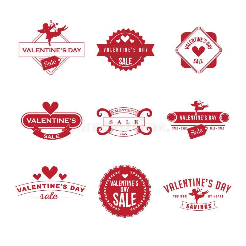 Insignes de vente de Valentine's rétros réglés illustration de vecteur