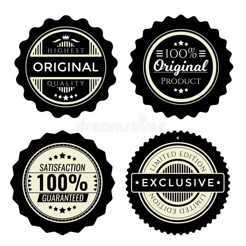 Insignes de vintage réglés Collection d'éléments de la meilleure qualité de conception pour les produits commerciaux Édition limi illustration libre de droits
