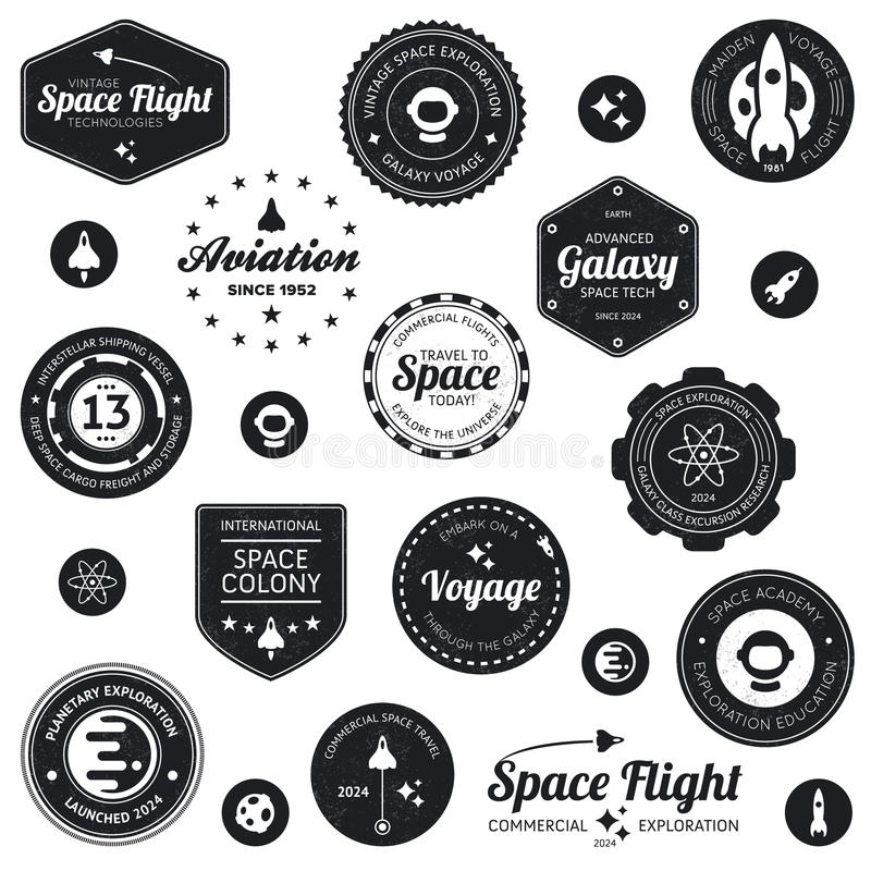 Insignes de voyage dans l'espace illustration libre de droits