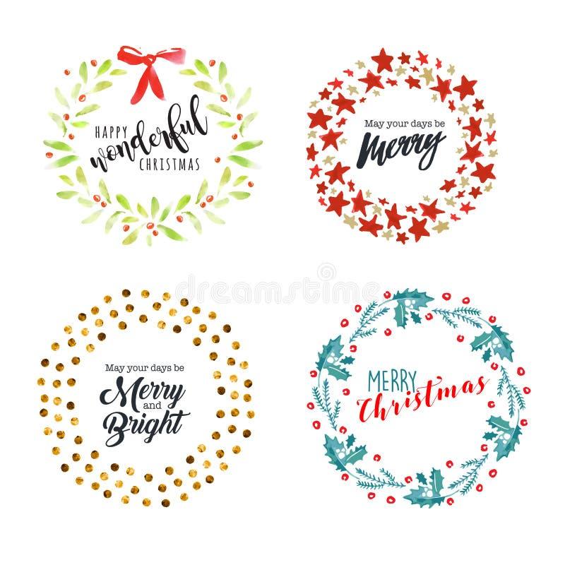 Insignes et éléments plats de conception de Noël et de nouvelle année illustration stock
