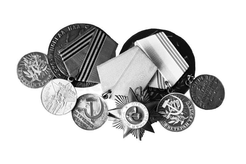 Insignes et commandes de l'URSS Récompense pour la bravoure La mémoire de la victoire photos stock