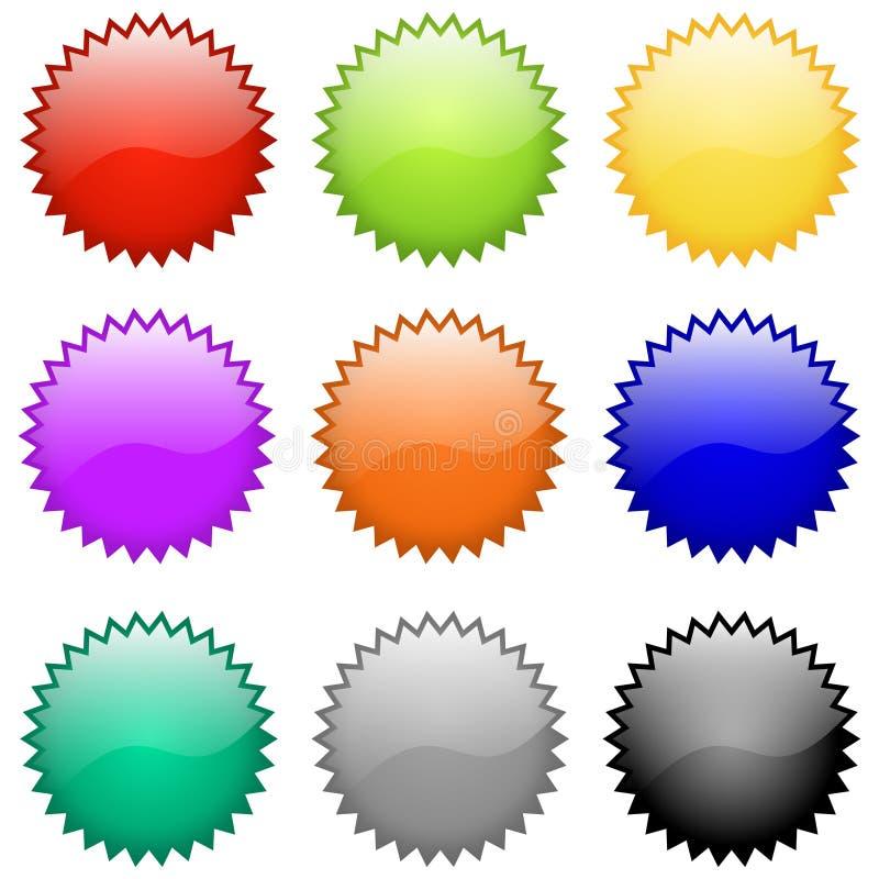 Insignes et emblèmes lustrés de vecteur illustration de vecteur