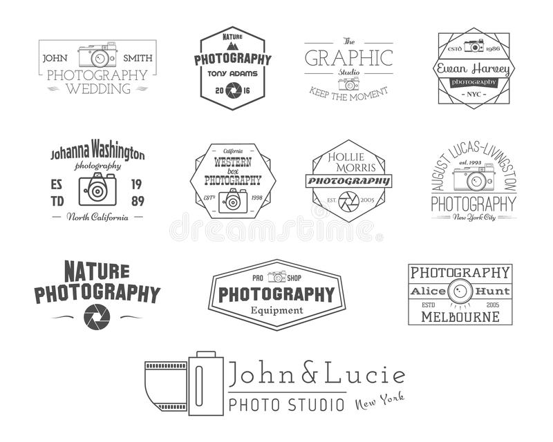 Insignes et labels de photographie dans le style de vintage illustration stock