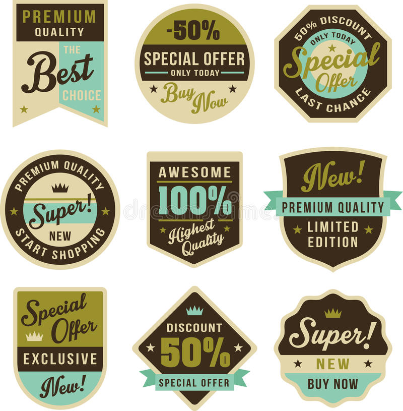 Insignes et labels de vintage illustration stock