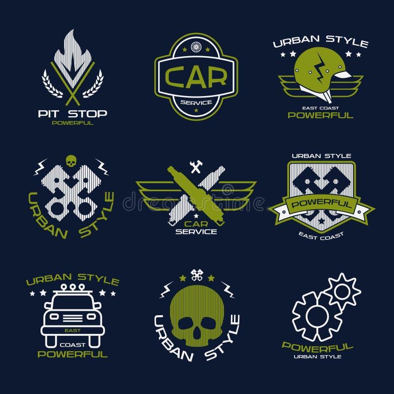 Insignes et logo de service de voiture illustration de vecteur