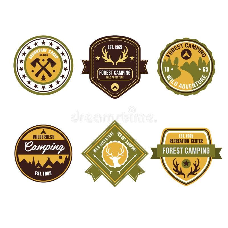 Insignes et Logo Emblems extérieurs de camp de vintage illustration de vecteur