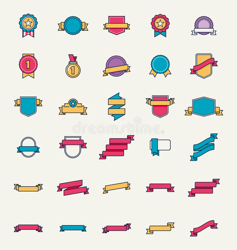 Insignes et rubans linéaires de vecteur illustration de vecteur