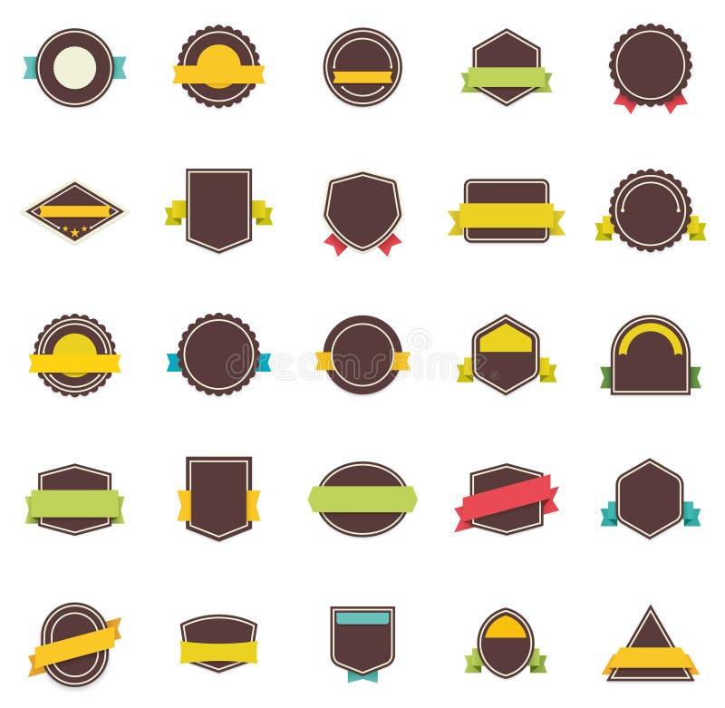 Insignes et rubans plats de vecteur illustration libre de droits