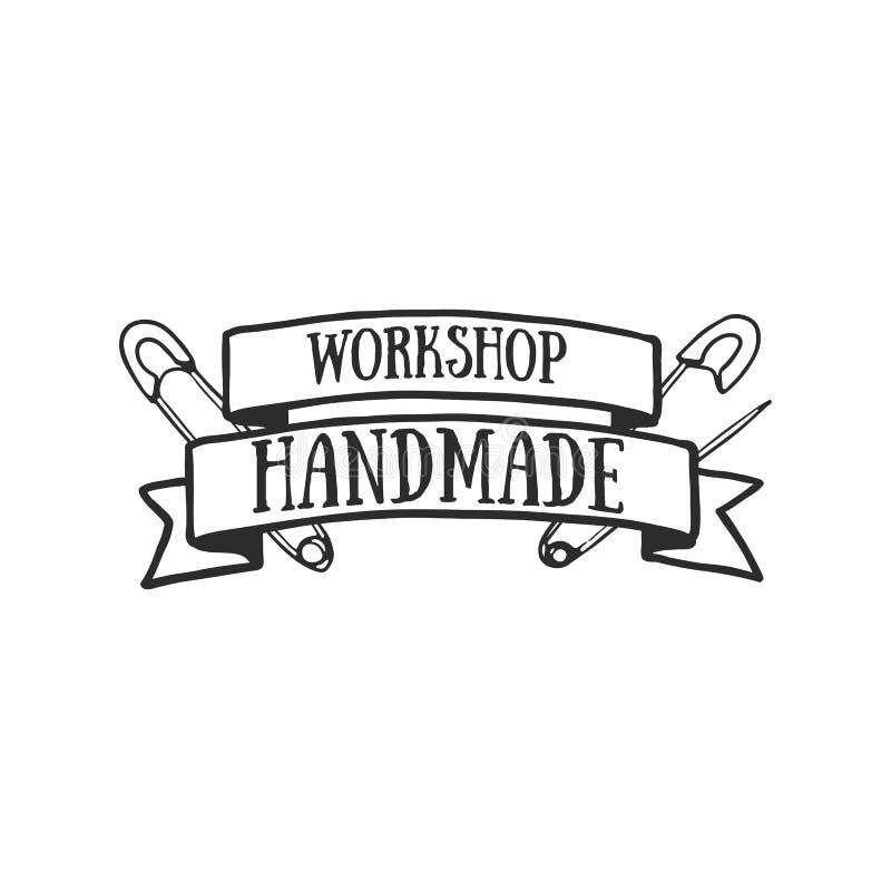 Insignes faits main, labels et éléments de logo, rétros symboles pour la boutique de couture locale, club de knit, artiste fait m illustration libre de droits